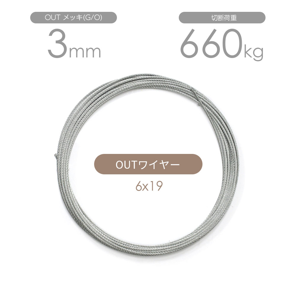 OUTワイヤー メッキ(G/O) 6x19 3mm カット販売