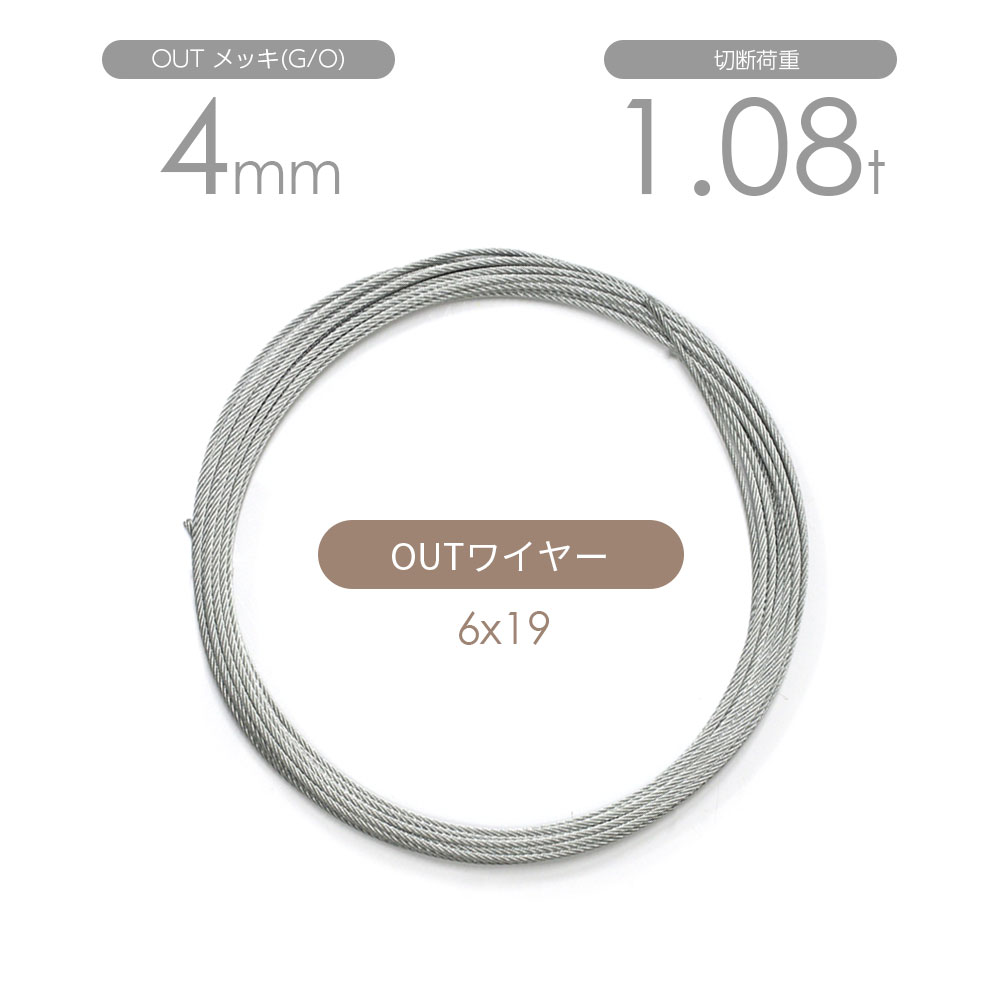 OUTワイヤー メッキ(G/O) 6x19 4mm カット販売