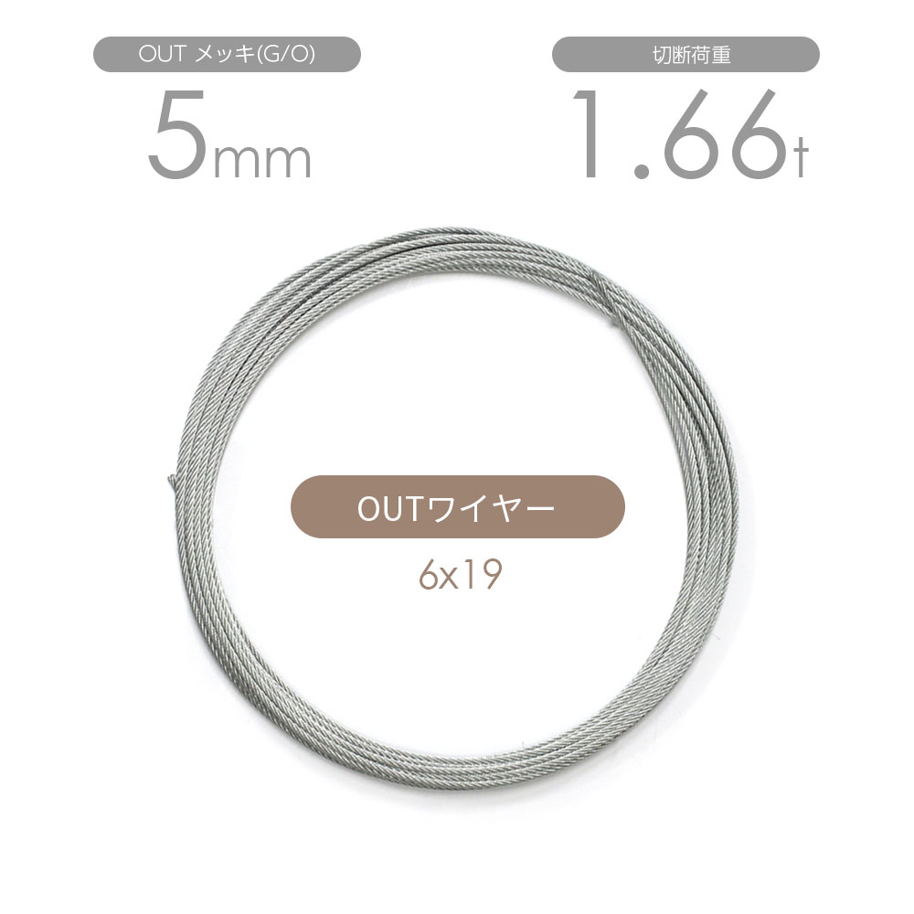 OUTワイヤー メッキ(G/O) 6x19 5mm カット販売